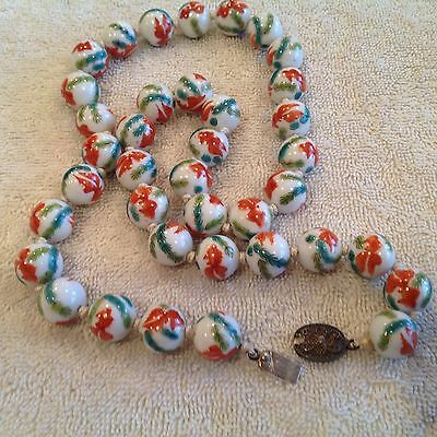 "Antiq Vtg Chinese Hand Painted Koi Fish Glass Beaded Knotted 24"" Necklace Export"