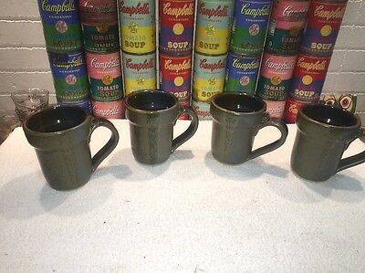 (4) Nice studio Pottery Ceramic Coffee Mugs Cups by ROSS CANADA