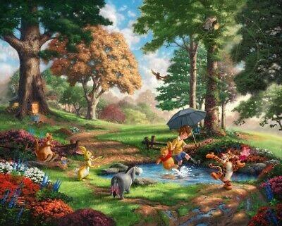 Winnie the Pooh I So Much Better With Two Thomas Kinkade LE 295 24x30 Paper