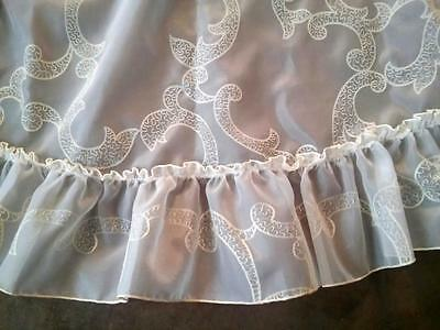 Antique Round Sheer Nylon Type Tablecloth Ruffled Edge Raised Pattern - L@@K