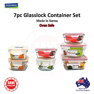 Glasslock 7P Tempered Glass Food Container Storage Microwave OVEN SAFE Set