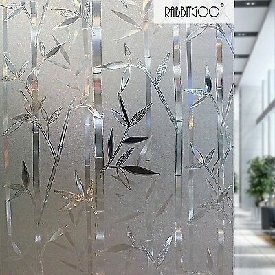 Rabbitgoo 3D No Glue Static Cling Film Privacy Glass Bamboo Frosted Window Fi...
