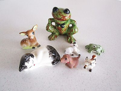 Ceramic Mixed Animal Lot of 7 Frog Deer Cat Fox Sheep Wiener Dog Dollhouse Old