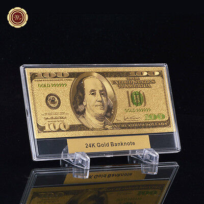 WR 24K Pure Colorized Gold US $100 Dollar Bill Gift In Acrylic Money Slab Holder