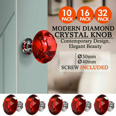 30mm 40mm Diamond Clear Crystal Glass Door Pull Drawer Knob Handle Cabinet