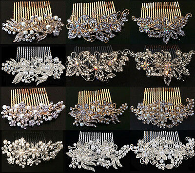 Wedding Bridal Hair Combs Gold Silver Diamante Crystal Pearl Vintage Tiara Clip