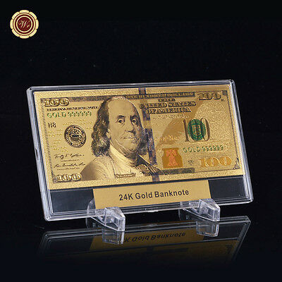 WR Latest $100 Bill US Paper Money 24k Gold Banknote +Display Frame Holiday Gift