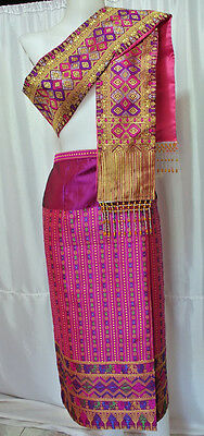 Pink Lao Laos Laotian Synthetic Silk Sinh Skirt Free Size Pha Bieng Beads CPA64