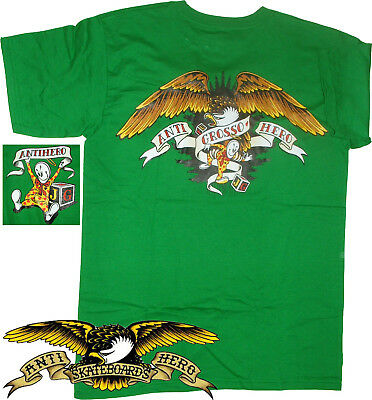 ANTI HERO Jeff Grosso Skateboard T-Shirt Kelly Green S Small only