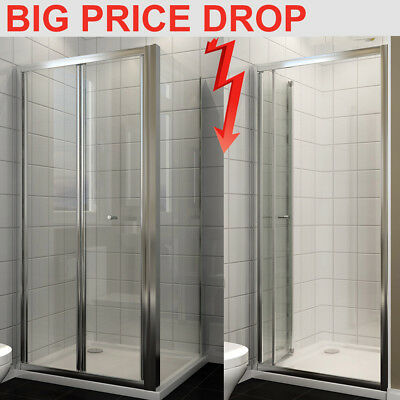 Bathroom Shower Enclosure and Tray Waste Bifold Door Glass Screen Side Panel