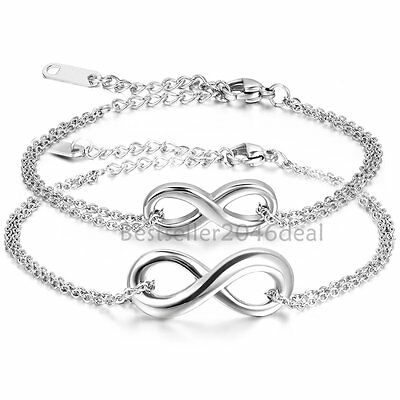 Stainless Steel Charm Infinity Love Silver Chain Bracelet Men Women Jewelry