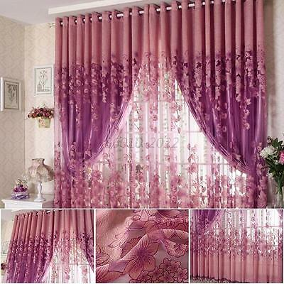 Floral Tulle Room Door Blackout Window Curtain Drape Panel Sheer Scarf