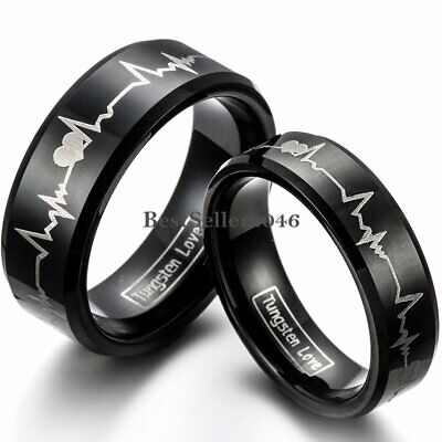 Tungsten Carbide Love Heartbeat Laser Comfort Fit Ring Wedding Band Womens Mens