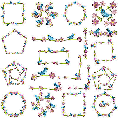 * BLUE BIRDS * Borders & Frames * Machine Embroidery Patterns * 20 x 2 Sizes