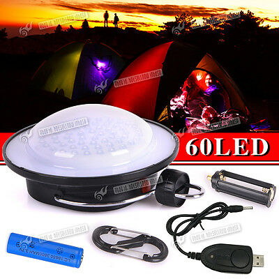 60 LED Hiking Camping Tent Lantern Light USB Lamp Outdoor & Rechargeable Battery