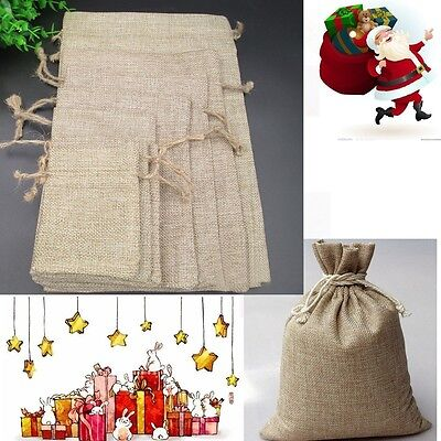 10 Hessian Linen Burlap Drawstring Jute Candy Gift Christmas Favor Bags Pouches