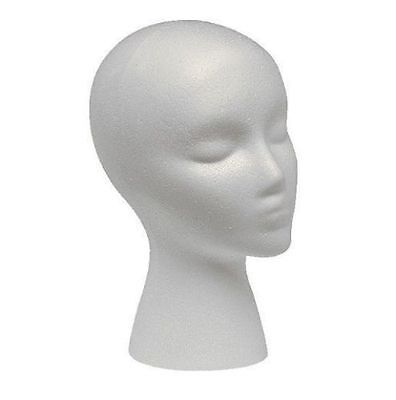 Polystyrene Female Display Mannequin Head Dummy Wig Stand