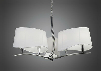 Mantra IL-M1900 Ninette 6 Light Pendant Off White Shade/Polished Chrome Finish