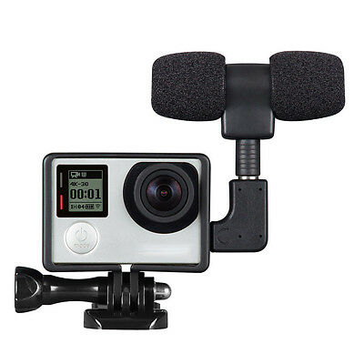 External Stereo Microphone MIC & Adapter + Housing Case For Gopro Hero 4 3+ 3 2