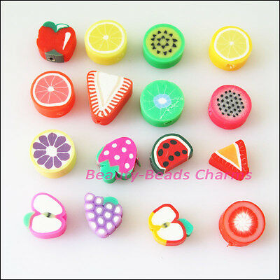 25 New Charms Handmade Polymer Fimo Clay Fruits Flat Spacer Beads Mixed 10mm