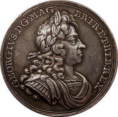 1714 George I Coronation Official Silver medal by John Croker