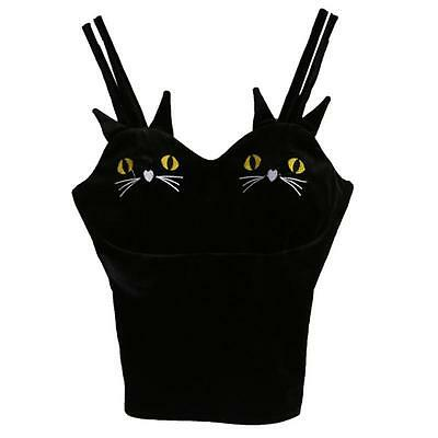 Women Sexy Velvet Camisole Black Cat Halter Top Blouse T-Shirt Cami Tank Vest