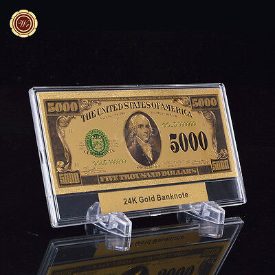 WR Banknote US $5000 Five Thousand Dollar Colored 24k Gold Foil Bill Note +frame