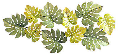 Abstract Metal Wall Art Monsteria Vine Leaves Green Hanging Sculpture BIG 107 cm