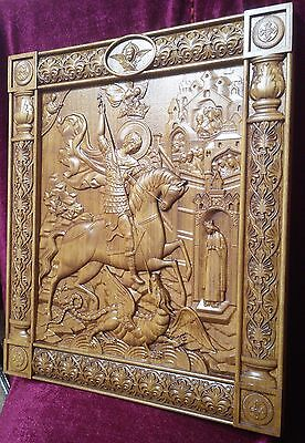 Icon Saint George and the Dragon 3D Art Orthodox Wood Carved Icon Picture 21""