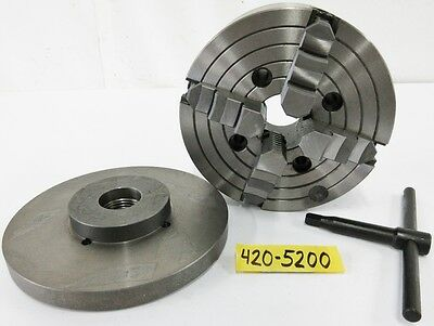 """SAVON 8"""" 4 Jaw Manual Chuck Plain Spindle Mount 1-1/2"""" – 8 Adapter Plate"""
