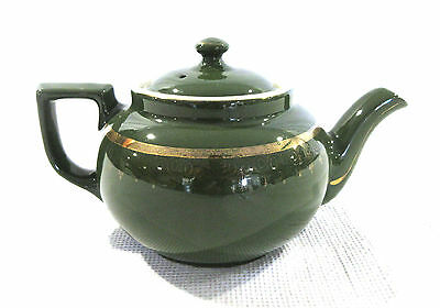 Vintage Hall Pottery 8 Cup Teapot Green with Gold Accent Trim Marked Made in USA
