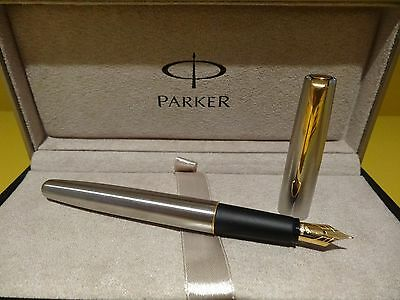 Parker Frontier Stainless Steel Gold Trim Fountain Pen Fine Nib (2005 Produced)