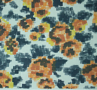 vintage 1950s abstract tangerine & grey floral print cotton fabric piece