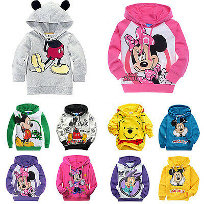 1-9Y Baby Kids Boys Girls Minnie Mickey Hooded Sweatshirt Coat Jacket Jumper Top