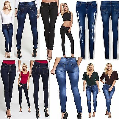 Womens Ladies Girls Stretchy Extreme Slim Fit Skinny Jeans Size 6 To 16