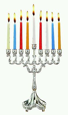 Hanukkah Chanukah Silver Plated 8.5'' Menorah candlestick with 44 candles set