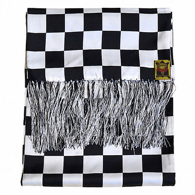 Mens 100% Silk Black & White Chequered Racing Flag Motorcycle Scarf by Goldtop