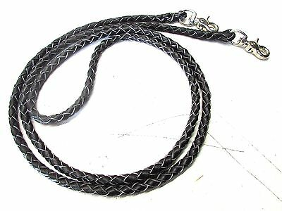 2X Cowboy Black Leather Tight Braided 7' Roping Reins horse tack equine