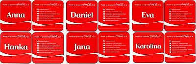 6 vintage coca cola mats coasters : Share a Coke with name Anna Eva Jana David