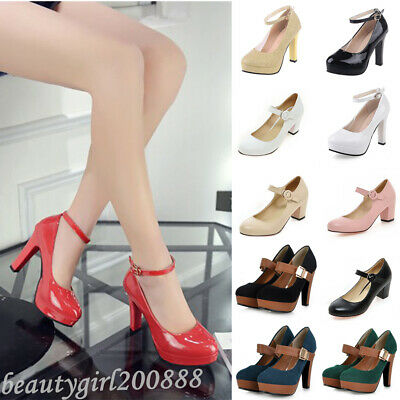 Womens Wedges Wedding Ankle Strap High Heels Platform Pumps Ladies Leather Shoes