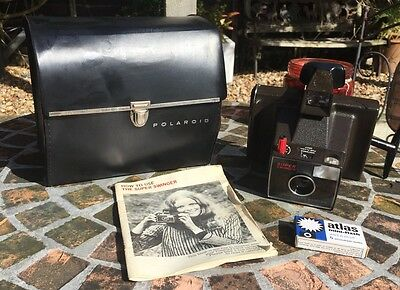Vintage Polaroid Super Swinger Instant Land Camera With Case Instructions Bulbs