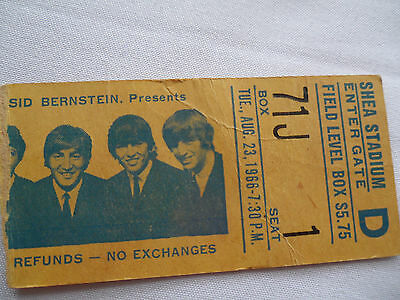 BEATLES 1966 Original CONCERT Ticket STUB - Shea Stadium, NYC
