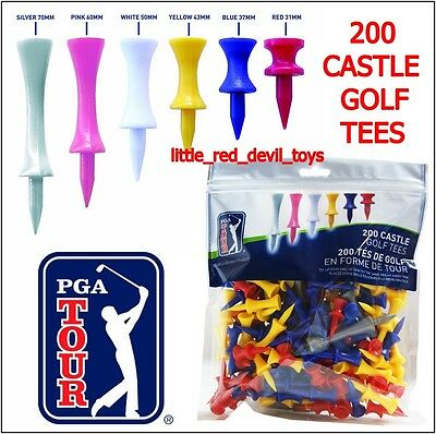 NEW PGA Tour Set of 200 Castle Golf Tees Various Size & Colours Golfers Gift