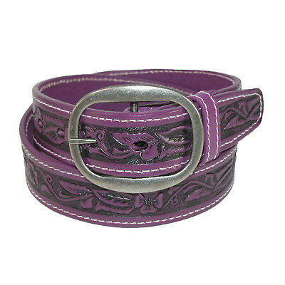 New CTM Leather Western Embossed Belt with Removable Buckle