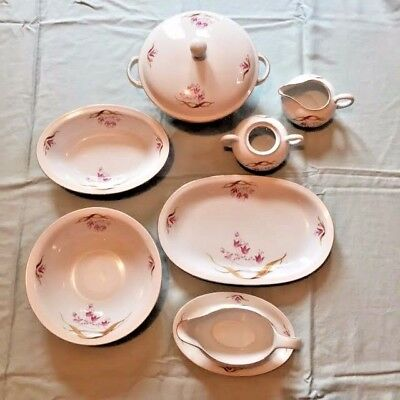 Antique Eschenbach Bavaria-Germany Dinnerware set White with Pink Flowers & ANTIQUE ESCHENBACH BAVARIA-GERMANY Dinnerware set White with Pink ...