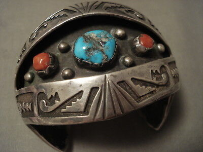 Advanced Geomtrix Vintage Navajo Persin Turquoise Coral Silver Bracelet