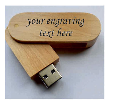 Personalised  wooden laser engraved 16GB usb flash drive, memory stick