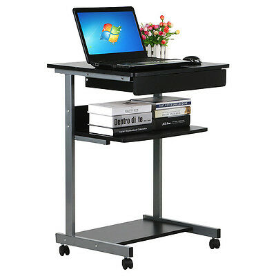 Laptop Table Stand Desk Rolling Portable Computer Cart Shelf With Drawer