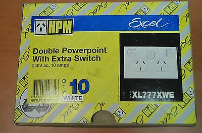 1 X Hpm 10Amp Double Powerpoint With Extra Switch Xl777Xwe