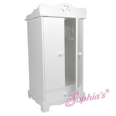 "White hand painted doll armoire closet wardrobe for 18"" American Girl Dolls"